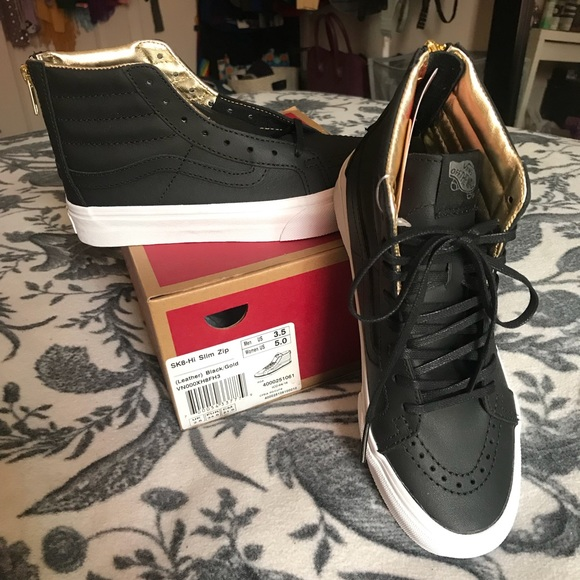 6b572f23ae Vans SK8-Hi Slim Zip  Black Leather w  Gold Zipper